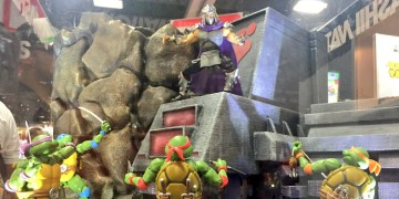 Shredder stands atop a display as the turtles look on from below, preparing for battle! Image Source: S.H. Figuarts.