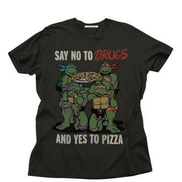 Ninja Turtles Say No to Drugs Yes To Pizza Adult Black T-Shirt