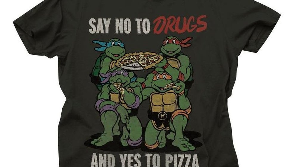 a36a0b09 Ninja Turtles Say No to Drugs Yes To Pizza Adult Black T-Shirt