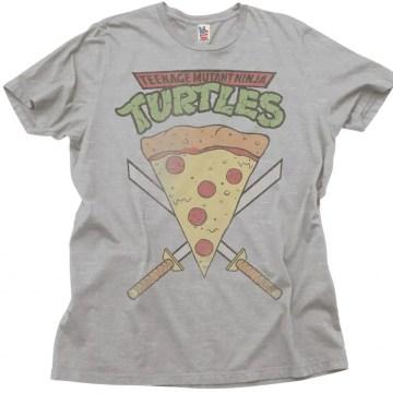 Michelangelo Pizza Slice Adult Black T-Shirt