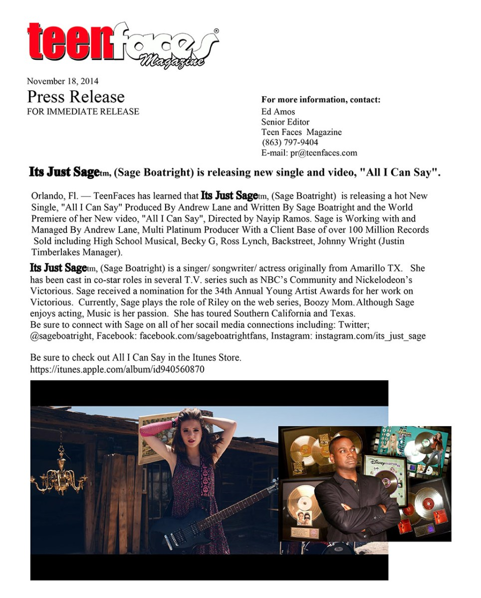 Press Release Its Just Sage, (Sage Boatright), Is Releasing New Single All I Can Say