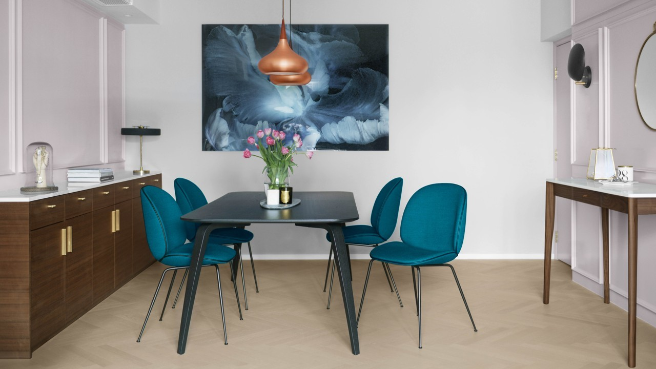 dining table and chairs hong kong blue arm a dull flat gets mid century modern makeover for couple their cats teen funda