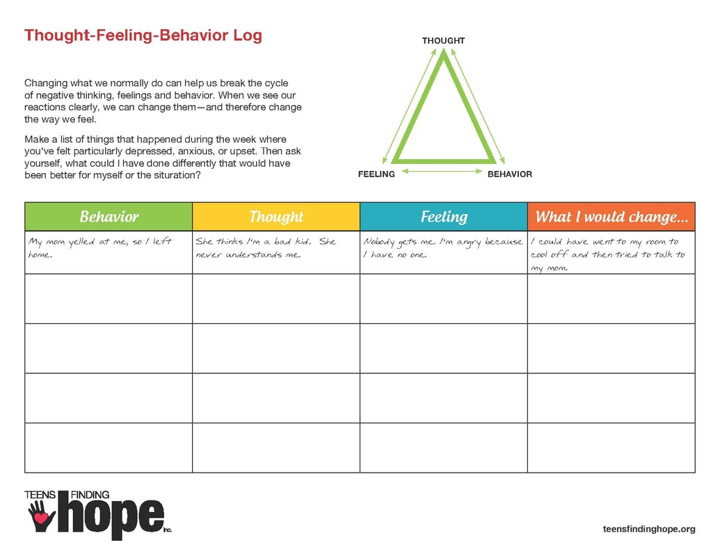 Worksheets For Teens With Depression