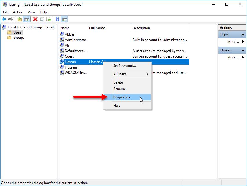 manage user account on windows 10