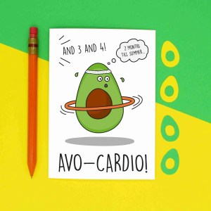 Avocado Pun Card, Gym Lover Card, Card for Vegan, Card for Vegetarian, Card for Millennial, Avocado Lover Card, Fitness Inspiration, Cute Birthday Card, Funny Birthday Card, Blank Greetings Card, Confetti Card, TeePee Creations, Fitness Lover Card