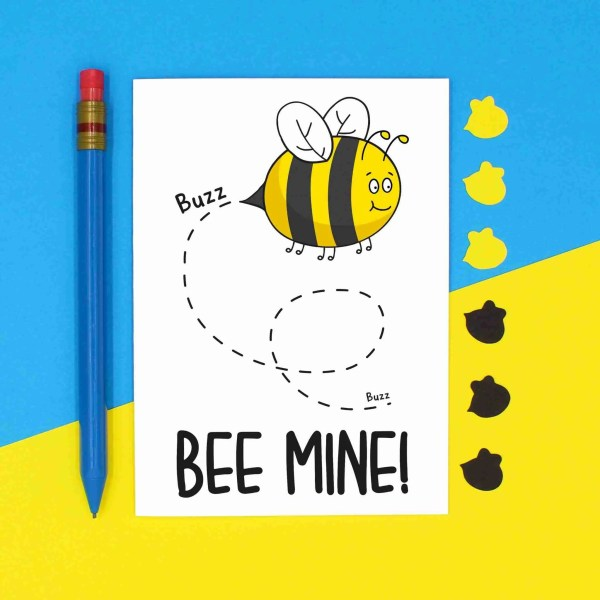 Bee Mine Card, Bee Pun Card, Valentines Day Card, Card for Girlfriend, Card for Boyfriend, Card for Partner, Card for Husband, Card for Wife, Te Pee Creations, Confetti Card, Anniversary Card, Bee Love Card, Cute Love Card