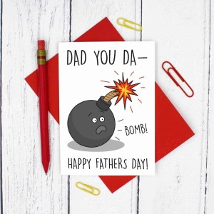 Funny Fathers Day, Bomb Pun Card, You Da-Bomb, Happy Fathers Day, Confetti Card, TeePee Creations, Funny Pun Card, Fun Card for Dad, Card for Stepdad, Explosion Card, Youre Amazing, Youre Incredible, Compliment Card