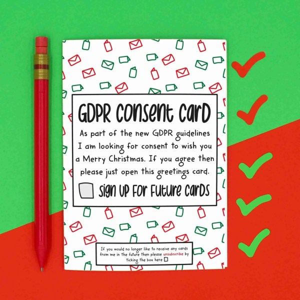 TeePee Creations, Confetti Card, Funny Christmas Card, Colleague Gift, Work Employee, GDPR Consent Form, Good Job Greetings, Data Protection Act, Business Xmas, Marketing Staff, Cyber Security, Nerd Geek Tech, Tick Box Drawing