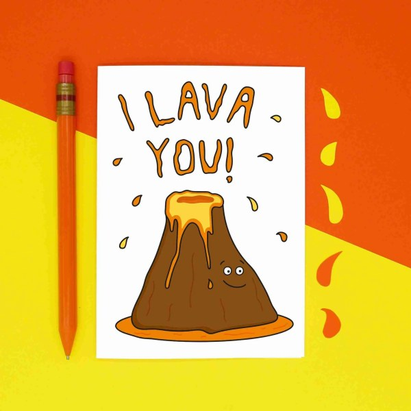 TeePee Creations, Valentines Day Card, Anniversary Gift, Confetti Card, Just Because, I Love You Greetings, Lava Pun, Funny Volcano, Boyfriend Girlfriend, Husband Wife, Geography Present, Hawaiian Theme, Cute Illustration