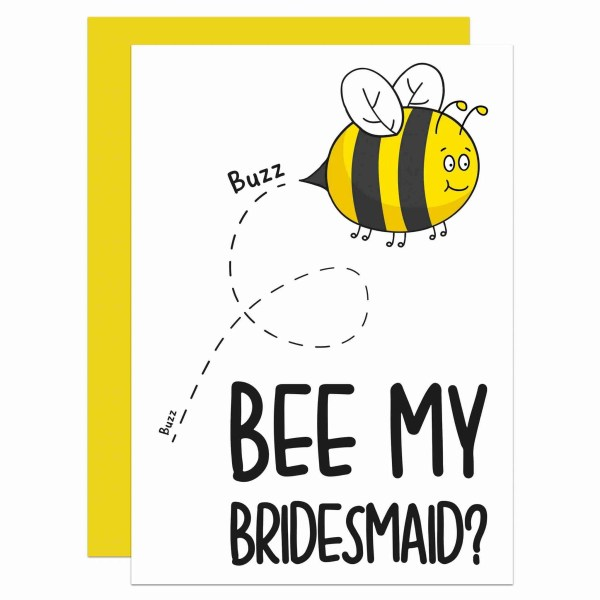 Be My Bridesmaid, Wedding Question, Card for Friend, Cute Bride Card, TePe Creations, Confetti Card, Buzzing Bee Pun, Bridesmaid Gift, Bridesmaid Proposal, Will You Be My, Funny Bee Card, Maid of Honour Card, Wedding Memento