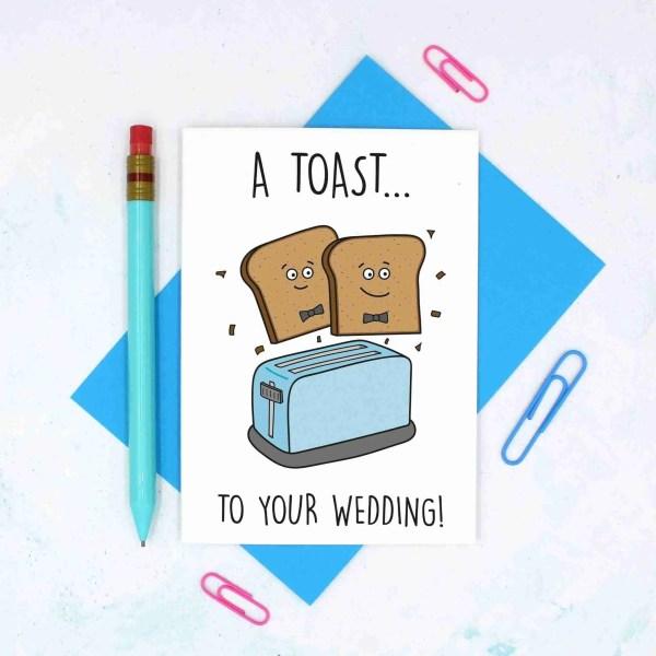 Cute Wedding Card, Congratulations Card, Toast To Wedding, Gay Marriage, Funny Wedding Card, Toast Pun Card, Toaster Pun Card, TeePee Creations, Confetti Card, Card for Vegan, Card for Vegetarian, 2 Husbands Card, Gay Wedding Card