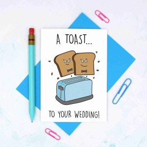 Cute Wedding Card, Congratulations Card, Toast To Wedding, Gay Marriage, Funny Wedding Card, Toast Pun Card, Toaster Pun Card, TeePee Creations, Confetti Card, Card for Vegan, Card for Vegetarian, 2 Husbands Card, Gay Wedding Card