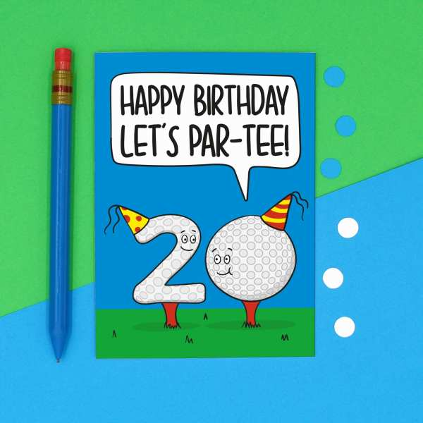 Funny Birthday Card, 20th Milestone Gift, Golf Lover, Lets Party Pun, TeePee Creations, Big Celebration, Dad Grandad, Brother Uncle, Numbered Present, Confetti Card, Golfer Token, Male Greetings, For Men
