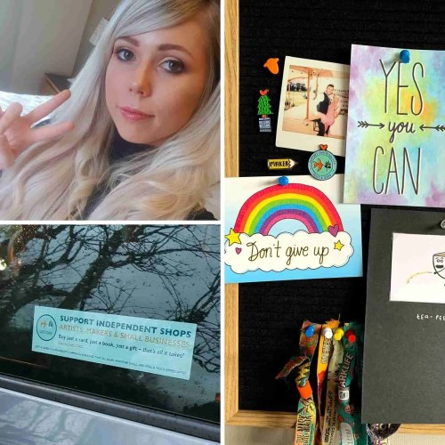 Toni Pilling, Owner of TeePee Creations with Just a Card Pin Badges and Just a Card Car Window Sticker collage