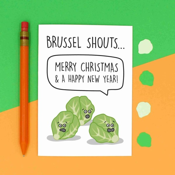 Brussel Shouts Card, Funny Christmas Card, Brussel Sprouts Pun, TeePee Creations, Christmas Joke Card, Christmas Cracker, Food Pun Card, Food Lover Card, Funny Holidays Card, Card for Vegan, Card for Vegetarian, Confetti Card, Shout Pun Card