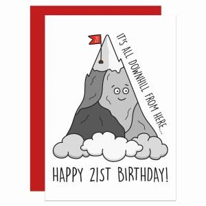 Confetti Card, Card for Son, Funny Birthday Card, TP Creations, Mountain Pun Card, Card for Daughter, Card for Friend, Sarcastic Card, Cheeky Card, Rude Birthday Card, All Downhill Card, Hill Pun Card, 21st Birthday Card