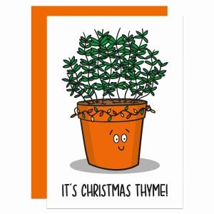 Pun Christmas Card, Funny Christmas Card, Thyme Pun Card, Its Christmas Time, Herb Pun Card, Card for Food Lover, Card for Chef, Card for Cook, TeePee Creations, Confetti Card, Fun Holidays Card, Christmas Carol Card, Xmas Pun Card