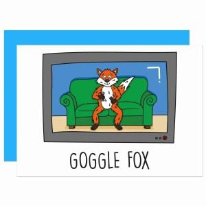 Goggle Box Pun Card, Goggle Fox Card, Fox Pun Card, TV Pun Card, Funny Birthday Card, Congratulations Card, Fun Blank Card, Animal Lover Card, TeePee Creations, Confetti Card, Any Occasion Card, Television Card, TV Show