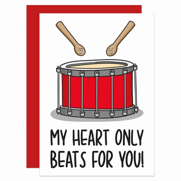 TeePee Creations, Confetti Card, Anniversary Card, Valentines Day Card, Funny Pun Card, Card for Musician, Card for Drummer, Drum Pun Card, Just Because Card, Card for Boyfriend, Card for Girlfriend, Cute Love Card, Card for Partner