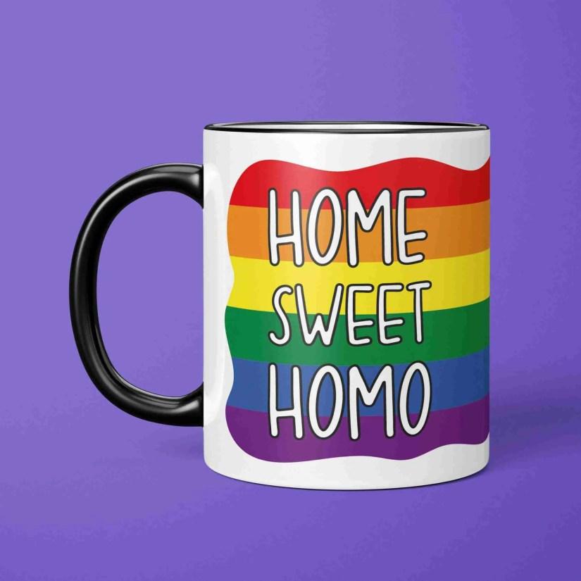 Funny Pun Birthday Mug TeePee Creations Housewarming Present Gay New Home Christmas Gift House LGBTQ Pride Homosexual Rainbow Flag Lesbian Sweet Homo Illustration Fun Joke Striped Colourful Bright