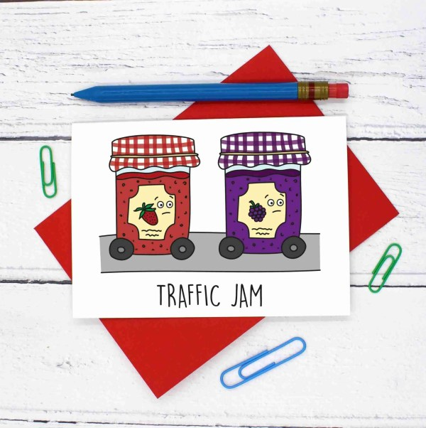 Jam Pun Card, Funny Pun Card, Tee Pee Creations, Confetti Card, Driving Test Card, Congratulations Card, Strawberry Jam Pun, Fun Blank Card, Food Lover Card, Blackberry Jam Pun, Traffic Jam Pun, Card for Chef, Funny Birthday Card