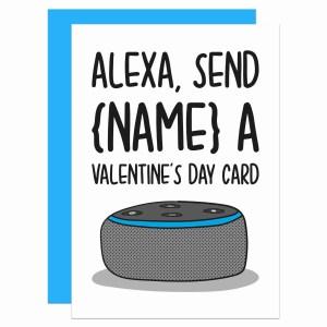 Alexa Valentines Day TeePee Creations Confetti Card Customisable Personalised Gift Funny Tech Lover Present Command Joke Nerdy Geek Technology Illustration Husband Wife Boyfriend Girlfriend