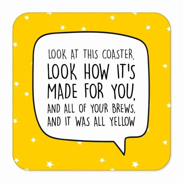 Coldplay Coaster, All Yellow Lyrics, All Yellow Pun, Graduation Gift, Funny Birthday Gift, Anniversary Gift, Fun Wedding Gift, Chris Martin Coaster, Music Lover Present, TePe Creations, Star Pattern Coaster, Present for Friend, Brew Pun Coaster