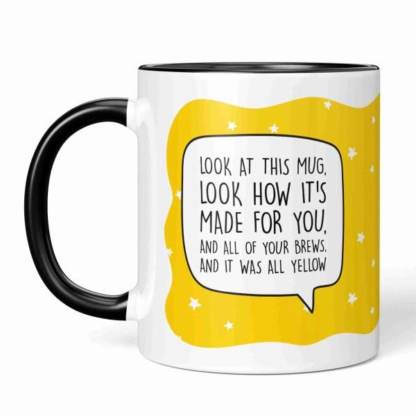 Coldplay Pun Mug, All Yellow Lyrics, All Yellow Pun Mug, Graduation Gift, Funny Birthday Gift, Anniversary Gift, Fun Wedding Gift, Chris Martin Mug, Music Lover Present, TePe Creations, Star Pattern Mug, Present for Friend, Brew Pun Mug
