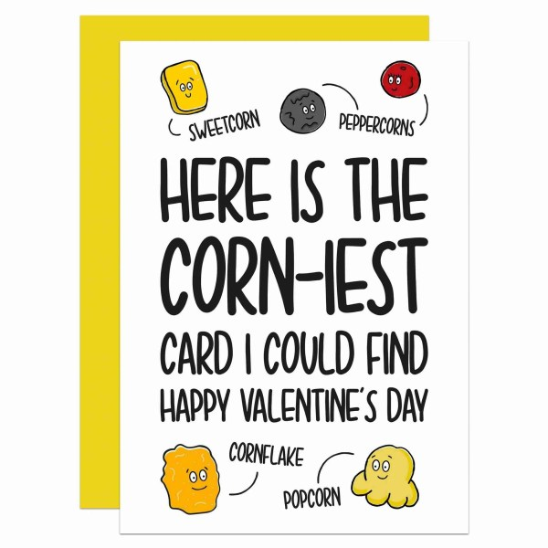 TeePee Creations Confetti Card Valentines Day Funny Pun Fun Love Corn Corny Boyfriend Girlfriend Wife Husband Cheeky Cheesy Illustration Peppercorn Sweetcorn Popcorn Cornflake