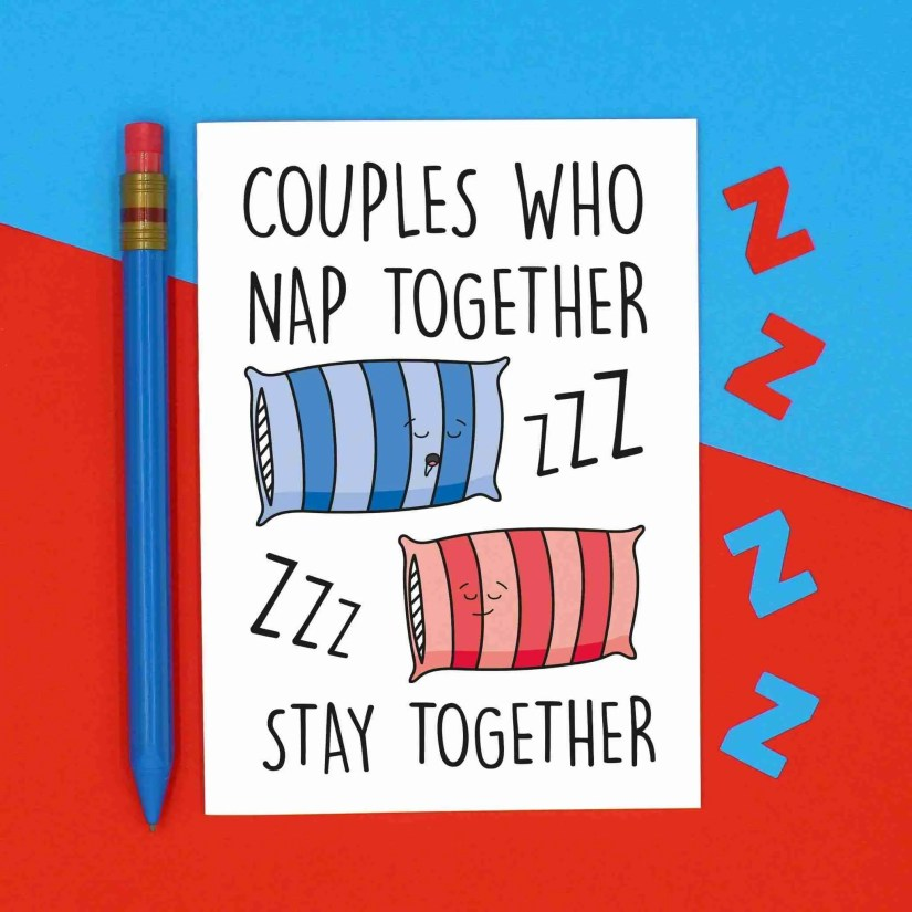 Funny Pun Card, TeePee Creations, Confetti Card, Anniversary Card, Valentines Day Card, Napping Couples Card, Snoring Card, Nap Together Card, Sleep Together Card, Drooling Card, Couples Who Card, Card for Girlfriend, Card for Boyfriend