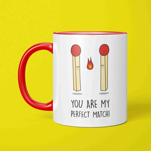 Funny Pun Mug, Perfect Match Mug, Valentines Day Gift, Anniversary Gift, Match Pun Mug, Just Because Gift, Gift for Boyfriend, Gift for Girlfriend, Two Tone Mug, Red Handle Mug, TeePee Creations, Present for Partner, I Love You Present