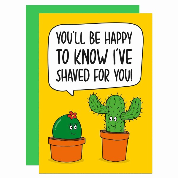 TP Creations, Funny Valentines Day, Anniversary Card, Confetti Card, Shaved Legs, Shaved Vagina, Prickly Legs Card, Shaving Pun Card, Cactus Pun Card, Card for Boyfriend, Card for Girlfriend, Cheeky Love Card, Rude Love Card