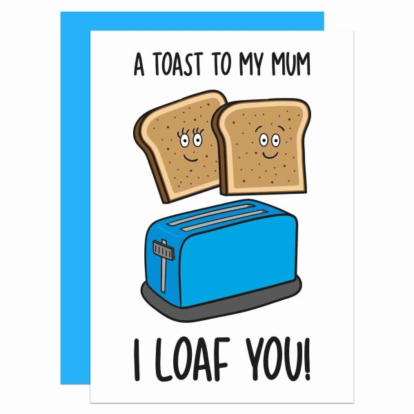Cute Card For Mum, Funny Mum Card, Toast Pun Card, Mothers Day Card, Confetti Card, Food Lover Card, Card for Vegan, Card for Vegetarian, Toaster Pun Card, TeePee Creations, Card for Stepmum, Funny Mothers Day, I Love You Mum Card