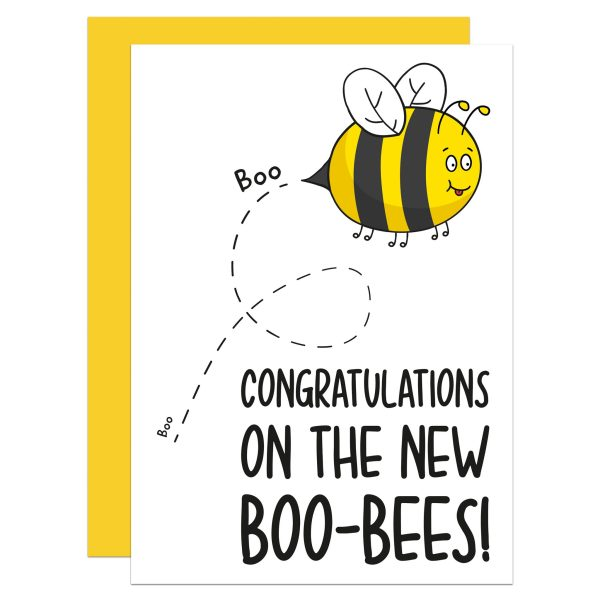"""Greetings card with bee illustration and phrase """"Congratulations on the new boo-bees!"""" on the front."""