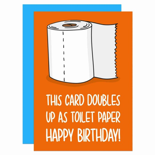 Pun Birthday Card, Toilet Paper, Cardboard Roll, Funny Greetings, TeePee Creations, Confetti Card, Bathroom Humour, Cheeky Drawing, Doubles Up As, Lockdown Joke, Self Isolation, Quarantine Gift, Rude Illustration