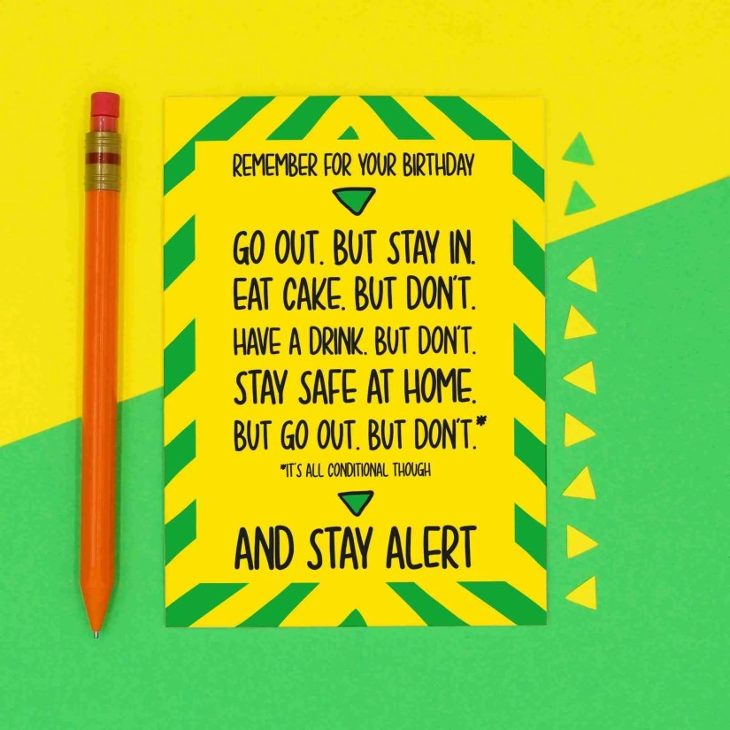 Pun Birthday Card, Social Distancing, Quarantine Card, Boris Johnson Card, Stay Alert Card, Self Isolation Card, Funny Card, TeePee Creations, Confetti Card, Stay Indoors Card, News Announcement, Speech Card, Topical Card