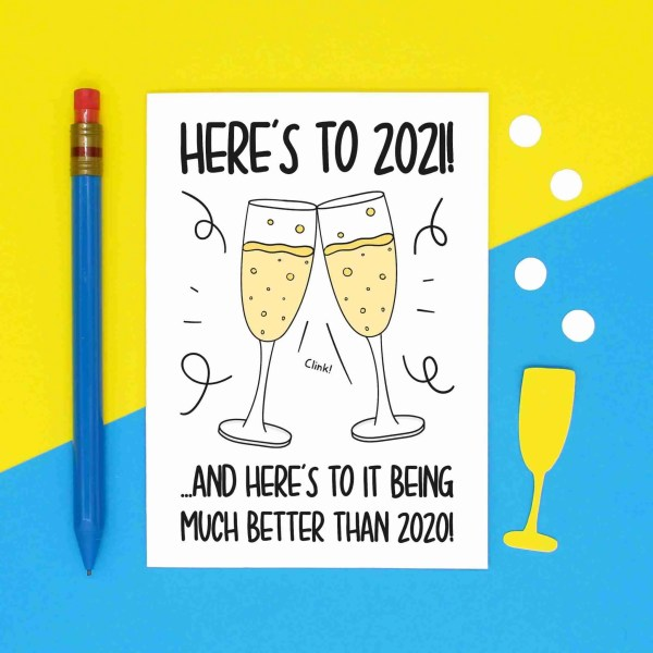 Funny Pun Card, TeePee Creations, Confetti Card, Lockdown Card, New Year Card, Heres to 2021, Champagne Glasses, Prosecco Flutes, Cheers to 2021, Bubbly Card, Social Distancing, Celebration Card, Rubbish Year