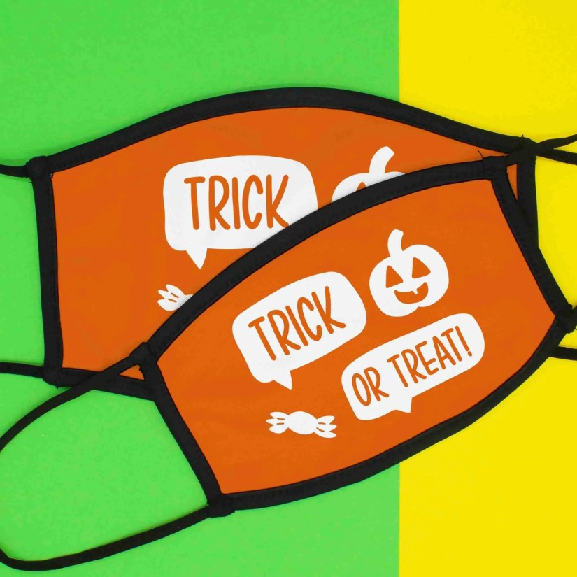Halloween Face Mask, Trick or Treat, Mouth Covering, Funny Costume, TeePee Creations, Childrens Clothing, Kids Adjustable, October Gift, Triple Layered, Elasticated Fitting, Washable Reusable, Orange Pumpkin, Fancy Dress