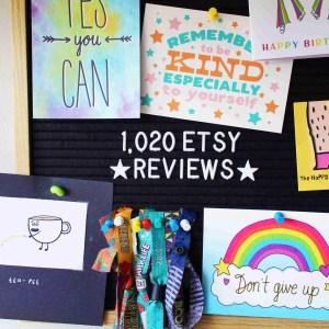 1020 Etsy reviews pin board