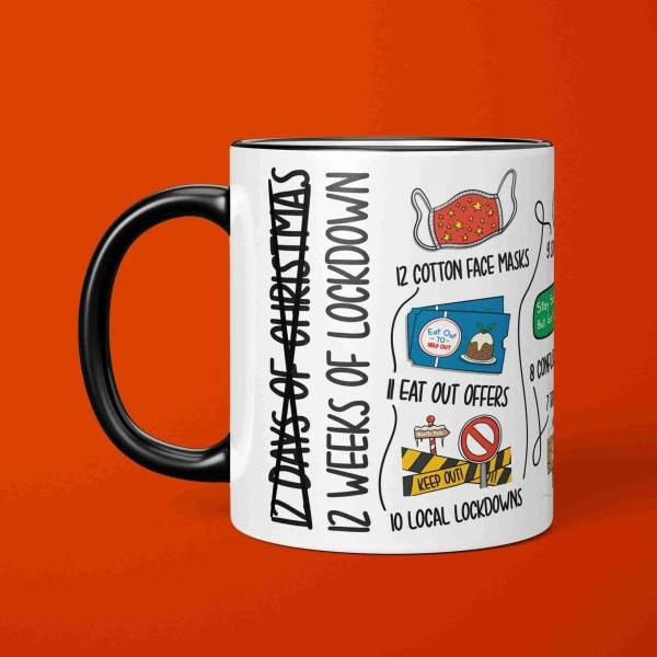 Pun Christmas Mug, 12 Days of Xmas, 12 Weeks of Lockdown, Funny Drawing, TeePee Creations, Political Satire, Boris Johnson Joke, Social Distancing, Self Isolation, Carol Song Present, Quarantine Drawing, Secret Santa Gift, Stocking Filler
