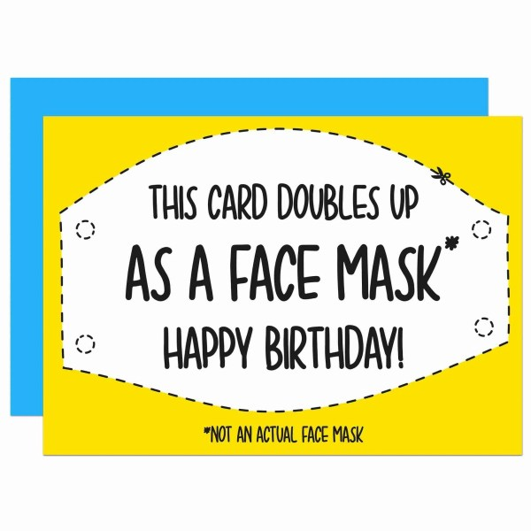Pun Birthday Card, Face Mask Joke, Face Covering Card, Funny Card, Lockdown Card, Self Isolation Card, TeePee Creations, Confetti Card, Doubles Up Card, Quarantine Card, Boris Johnson Card, Social Distancing, DIY Card