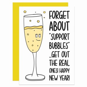 Pun New Year Card, Social Distancing, Quarantine Joke, Boris Johnson, Support Bubbles, Self Isolation, Funny Lockdown, TeePee Creations, Confetti Card, Bubbly Champagne, Prosecco Humour, Topical Greetings, Drinks Christmas