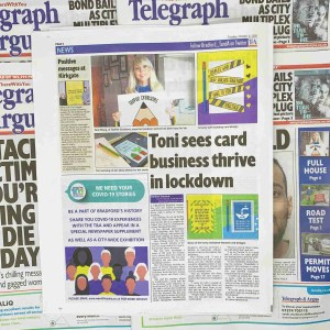The Telegraph and Argus TeePee Creations Toni Sees Card Business Thrive In Lockdown Newspaper Article