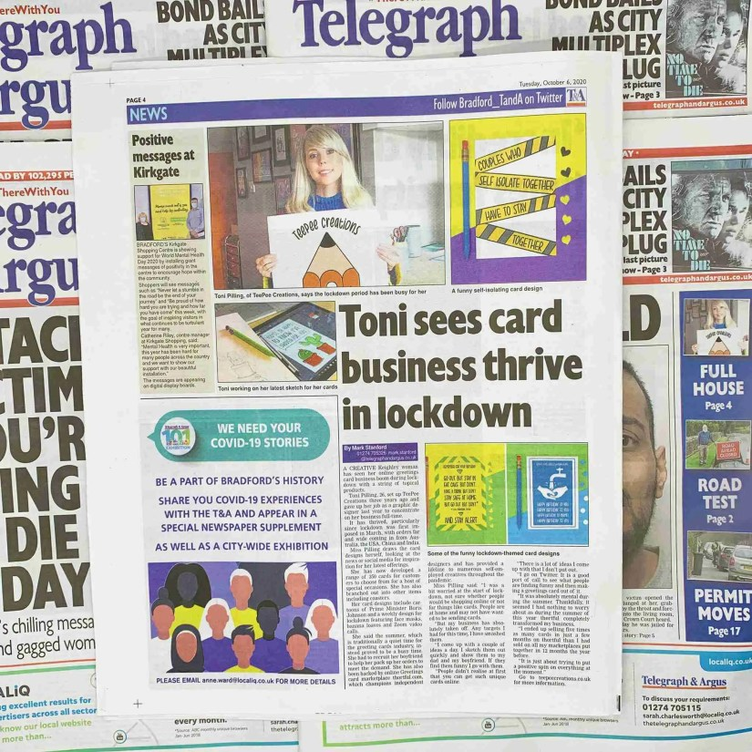 About TeePee Creations Image The Telegraph and Argus TeePee Creations Toni Sees Card Business Thrive In Lockdown Newspaper Article