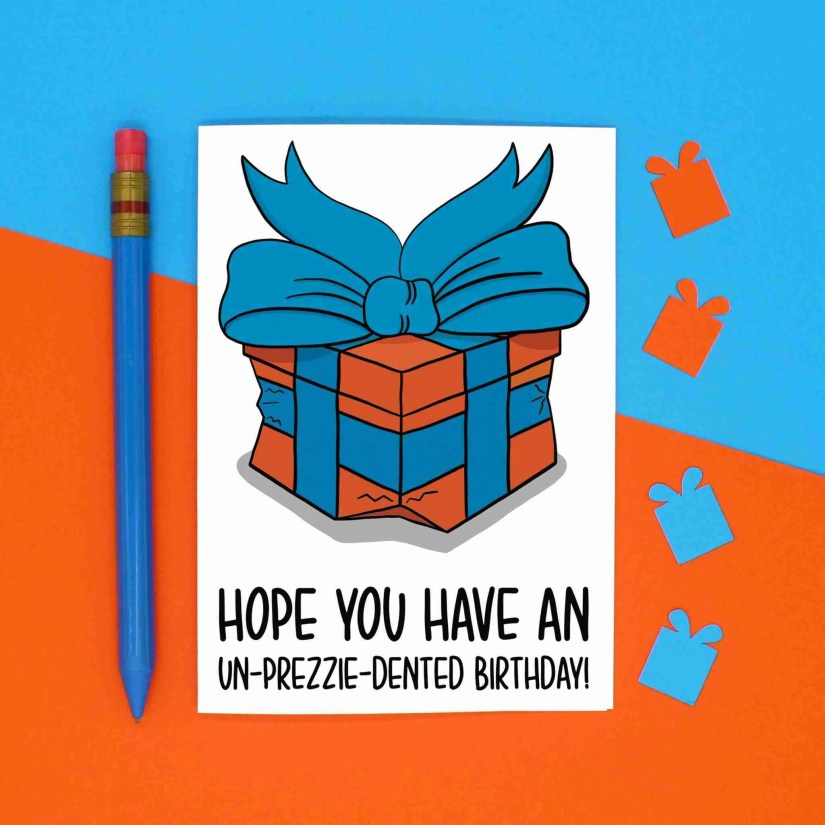 Unprecedented Pun, Lockdown Humour, Funny Birthday, Present Dented Joke, Prezzie Illustration, Play On Words, Fun Bday Card, 2020 Greetings, TeePee Creations, Confetti Card, Topical Design, Social Distancing, Boris Johnson Gift