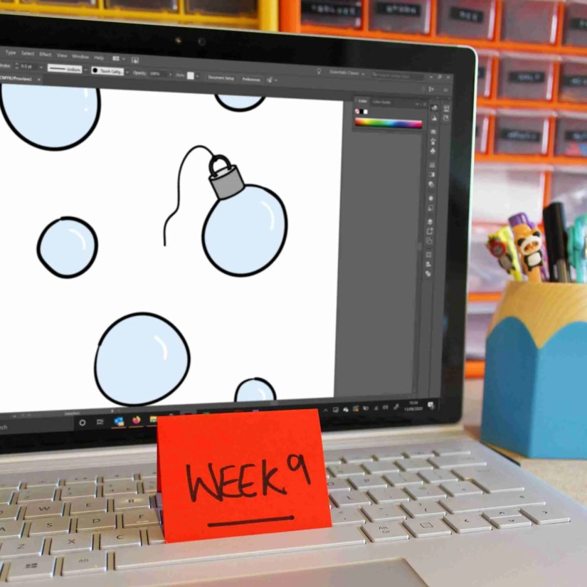 preview image of drawing on illustrator of 9 support bubbles