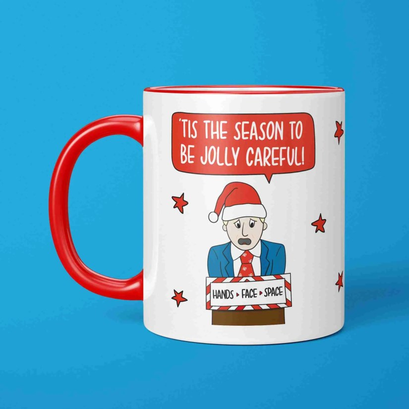 Lockdown Mug Boris Johnson Tis The Season Jolly Careful TeePee Creations Quarantine Gift 2020 Christmas Topical Xmas Funny Present Social Distancing Prime Minister Stocking Filler Secret Santa