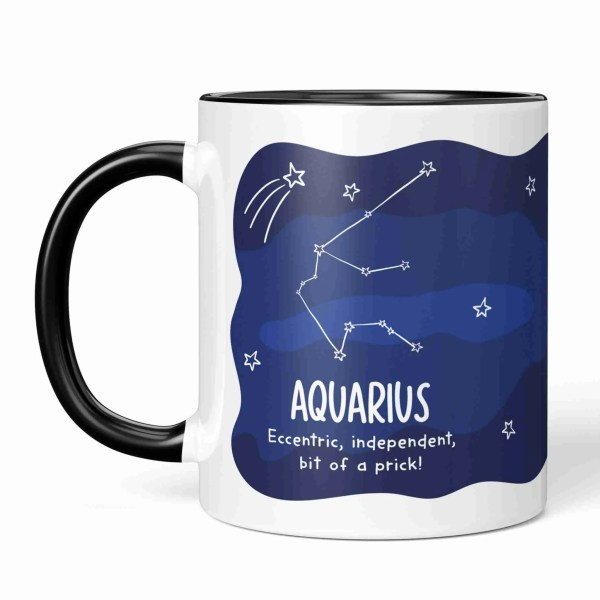 Aquarius Illustration Funny Birthday Mug Water Carrier Pun TeePee Creations Christmas Present Rude Sister Brother Joke Cheeky Star Sign Space Constellation Janaury Horoscope Adult Swear Independent Sister Eccentric Prick February Zodiac