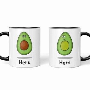 Valentines Day Anniversary Gift Mug Pun Millennial Avocado Illustration Lesbian Girlfriend Gay Wife Other Half Gift TeePee Creations Couples Hers Present Food Humour Funny Fruit Cute Adorable Vegetarian Vegan Partner