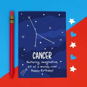 Cancer Illustration Funny Birthday Card Crab Pun TeePee Creations Confetti Card Rude Sister Joke Cheeky Star Sign Space Constellation June Horoscope Adult Swear Moody Cow Nurture Imaginative July Zodiac